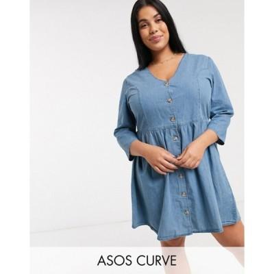 エイソス レディース ワンピース トップス ASOS DESIGN Curve soft denim tea dress in midwash blue