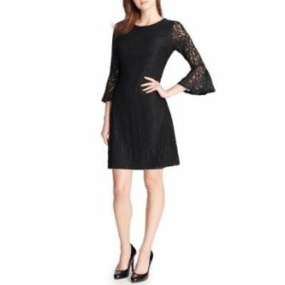 トミー ヒルフィガー レディース ワンピース トップス Lace 3/4 Bell Sleeve A-Line Dress Black