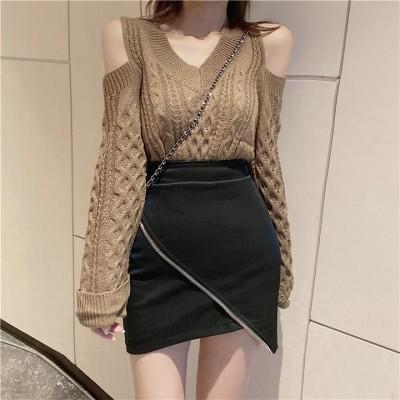 ✨限定SALE!! 秋冬新作✨ゆるやかな メリヤスのセーター 品質いいな 新品 大活躍 可愛いし 2色