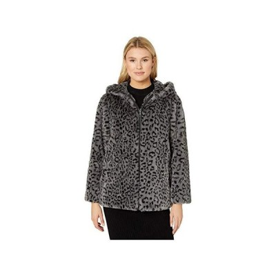 Vince Camuto Hooded Zip Front Faux Fur Jacket V29753 レディース コート アウター Grey Leopard