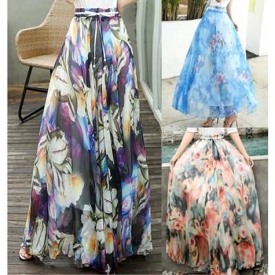 全9色 スカート フリル 体型カバー ハイウエスト シフォン 花柄 カジュアル