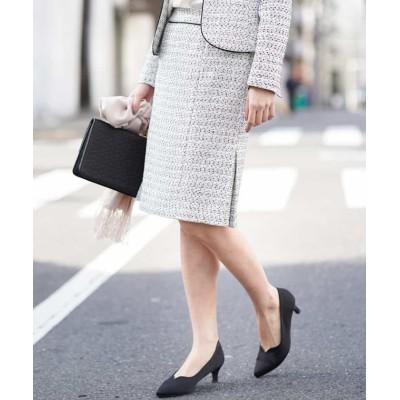 【オフオン】 ネップツイードタイトスカート レディース ホワイト M OFUON