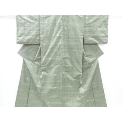 宗sou 花模様織り出し手織り真綿紬着物【リサイクル】【着】