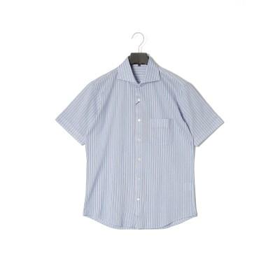 ストライプ 半袖シャツ サックスブルー l