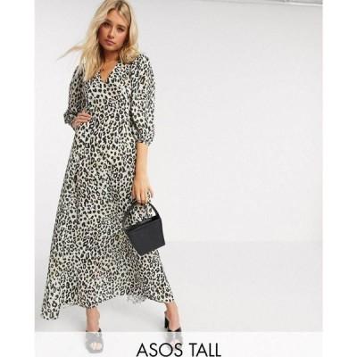 エイソス ASOS Tall レディース ワンピース マキシ丈 ASOS DESIGN Tall exclusive trapeze maxi dress with puff sleeve in leopard print レオパードプリント