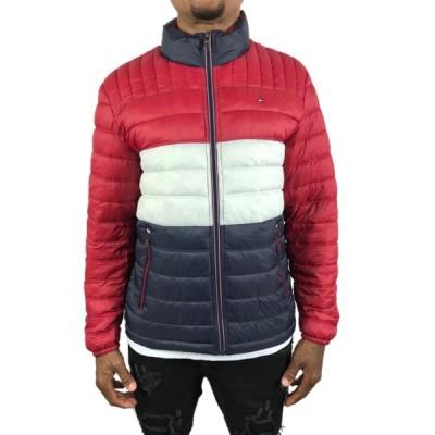 トミーヒルフィガー パッカブルジャケット Tommy Hilfiger PACKABLE メンズ 襟ロゴ 赤 レッド 白 ホワイト 紺 ネイビー 収納 コンパクト●jk388