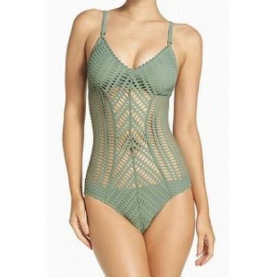 Robin Piccone ロビン ピッコーネ スポーツ用品 スイミング Robin Piccone NEW Green Womens Size 6 One-Piece Crochet Swimwear