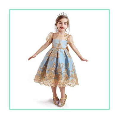 TTYAOVO Girls Lace Embroidered Backless Knee Length Princess Birthday Party Dress Size (130) 5-6 Years Yellow並行輸入品