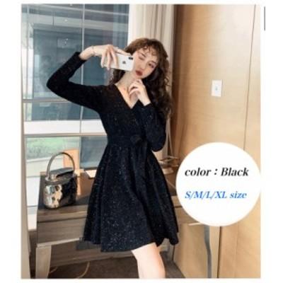 Aラインスカート 秋 大きいサイズ 小さいサイズ ミニスカート 長袖 ブラック ファイン生地 Vネック バックジッパー