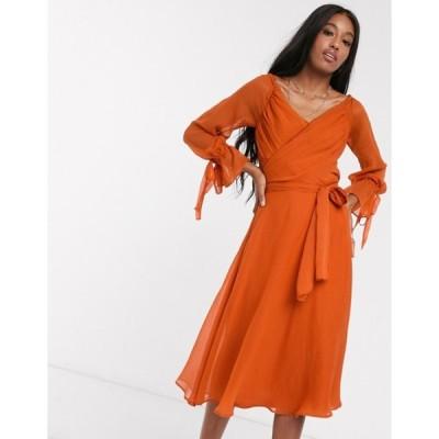 エイソス レディース ワンピース トップス ASOS DESIGN midi dress with layered skirt and wrap waist with lace trim detail in red