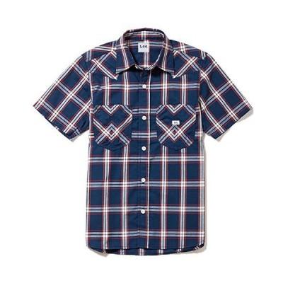 Lee(リー) メンズ ウエスタン半袖シャツ LCS46008-28 ネイビー×ホワイト L
