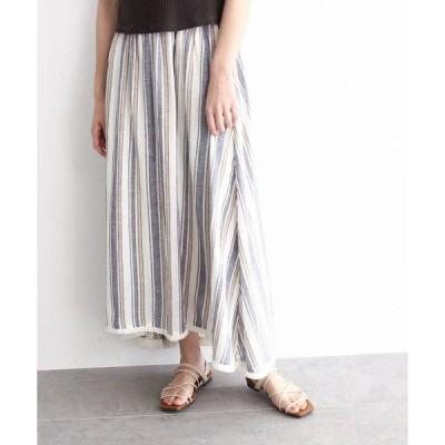 OZOC / オゾック リネンブレンドストライプフリンジボリュームスカート