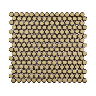 "SomerTile fkompr73?Penny Caffe磁器モザイク床と壁タイル、12?"" x 12.625インチ、ベージュ/クリーム"
