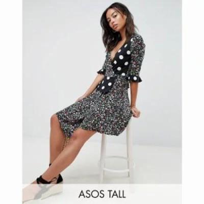 エイソス ワンピース ASOS DESIGN Tall wrap dress in mixed print Multi