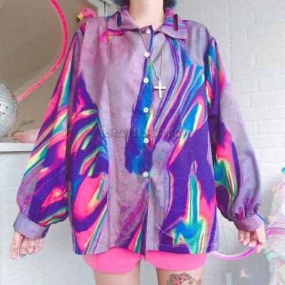 長袖 オーバーサイズ 射光・反射生地 シャツ ブラウス ゆったり レディース トップス メタリック 光沢 ユニセックス 原宿系 ライトアウター ダンス衣装