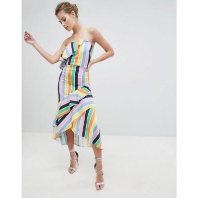 トゥルーヴァイオレット レディース ワンピース ワンピース・ドレス Bandeau Midi Dress With Frill Hem Multi