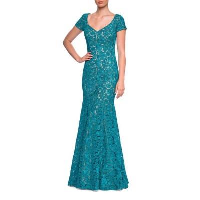 ラフェム レディース ワンピース トップス Floral Lace V-Neck Short-Sleeve Mermaid Gown