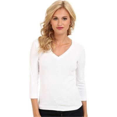 スリードッツ Three Dots レディース 長袖Tシャツ Vネック トップス 100% Cotton Heritage Knit 3/4 Sleeve Deep V-Neck White