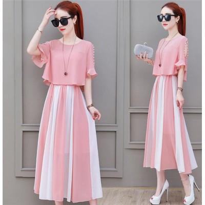 [55555SHOP]💛 韓国ファッション 着やせ効果抜群 大人の魅力高まる★体型カバー中・長セクション  大きいサイズ スリムシフォン    ワンピース 💖3COLOR☆