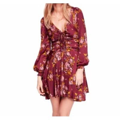 Free People フリーピープル ファッション ドレス Free People Womens Purple Size 8 Floral Cinched V-Neck Sheath Dress