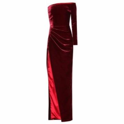 ロサリオ RASARIO レディース パーティードレス ワンショルダー ワンピース・ドレス One-shoulder velvet gown Burgundy