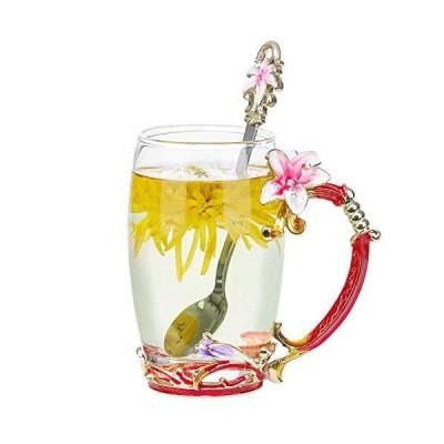 Lily Flower Glass Tea Cup Handmade Coffee Mug Enamel with Steel Spoon Set P