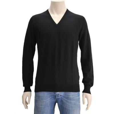 グランサッソ Vネックニット GRANSASSO ブラック 黒 短丈スリムフィットセ−ター ハイゲージ イタリア メンズブランド Men's