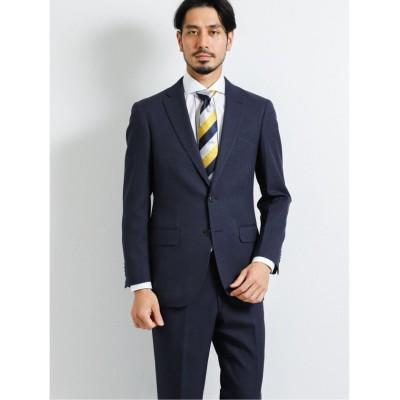 【タカキュー】 ストレッチウォッシャブル 組織柄スリムフィット2ピーススーツ 青 メンズ ブルー AB6 TAKA-Q