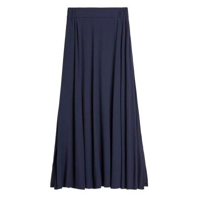 スカート ソフトポンチ ミディスカート(スリット入り)