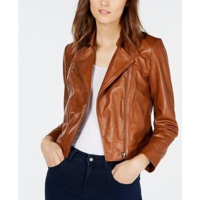 マイケルコース ジャケット&ブルゾン アウター レディース Leather Moto Jacket, Regular & Petite Sizes Luggage
