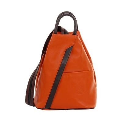 Primo Sacchi Italian Soft Leather Orange & Brown Top Handle Shoulder Bag Rucksack Backpack Purse 並行輸入品