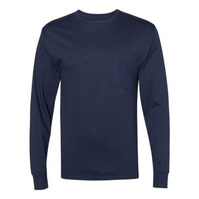 ユニセックス 衣類 トップス Hanes Workwear Long Sleeve Pocket T-Shirt Tシャツ
