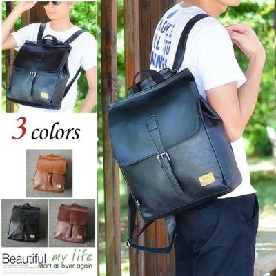 ビジネスバッグ A4サイズ対応 合成革 2way フラップ リュック 通勤 通学 営業 メンズ アウトドア デイパック 手提げバッグ