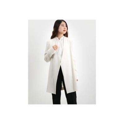 リネーム Rename ノーカラーデザインロングジャケット (オフホワイト)