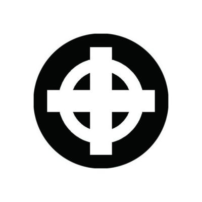 家紋シール 白紋黒地 丸に出十字クルス 布タイプ 直径40mm 6枚セット NS4-0643W