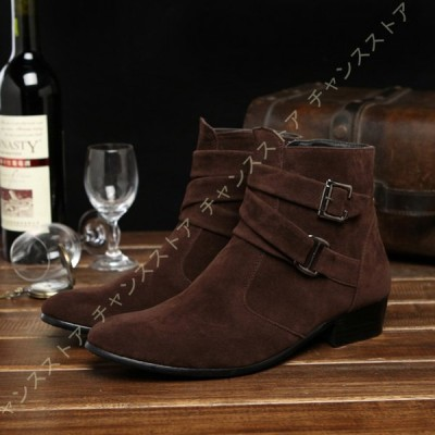 メンズ サイドリング ショートブーツ  靴 くつ シューズ ハイカット 紳士靴 魅力 メンズ ブーツ きれいめ ブーツ メンズ ヒール ブーツ メンズ ローヒール