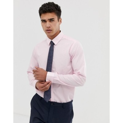 ニュールック メンズ シャツ トップス New Look regular fit poplin shirt in light pink