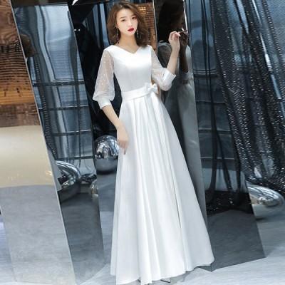 イブニングドレス パーティードレス 安い 可愛い 披露宴 結婚式 演奏会 発表会 ロングドレス シースルー【ロング】