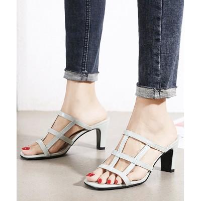 【フューティアランド】 サンダル メッシュ ワイドメッシュ ヒール シューズ 靴 韓国 ファッション / ワイドメッシュサンダル レディース ミント 38(24.0-24.5) Futier land