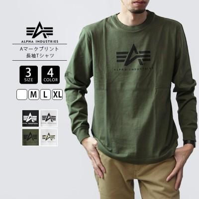 アルファインダストリーズ Tシャツ 長袖 メンズ ロンT ALPHA INDUSTRIES Tシャツ 長袖 Aマークプリント 長袖Tシャツ TC1430