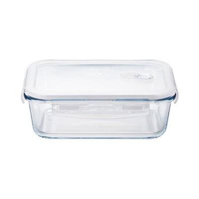 アデリア 耐熱ガラス密封保存容器 クリア 1000mL クックロック レクタングル 電子レンジ対応 4面ロックH-8765