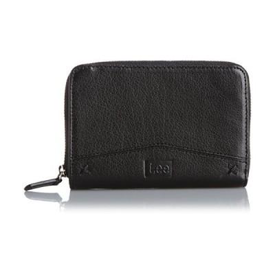 [リー] 財布 ソフト牛革 ラウンドファスナー 二つ折り ブラック