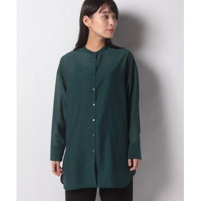 【エーシーデザインバイアルファキュービック】 バンドカラーシャツ レディース グリーン 13号 A/C DESIGN BY ALPHA CUBIC