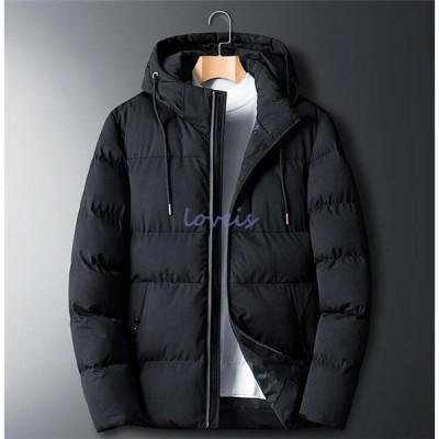 中綿ジャケット メンズ 中綿コート ショート ダウンコート 体型カバー 大きいサイズ フード付き 気持ちいい 厚手 冬服 ブルゾン コート アウター