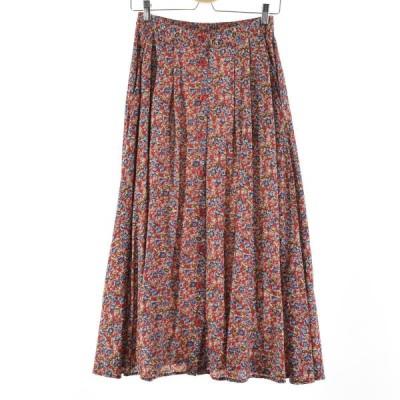 CARROLL REED 花柄 前開き レーヨン ロング プリーツスカート USA製 レディースM /eaa136633