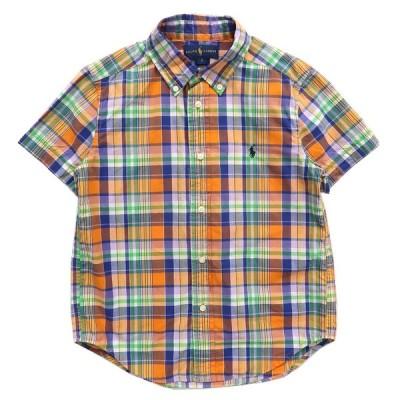 キッズ ラルフローレン RALPH LAUREN ボタンダウンシャツ 半袖 チェック マルチカラー サイズ表記:6