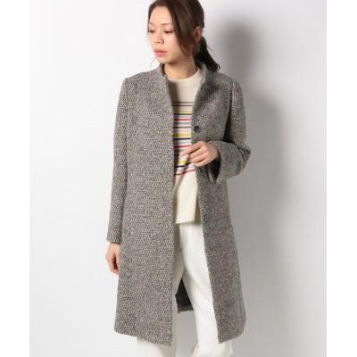 【アバン】 アルパカ混ウール織柄コート レディース グレイ 9 AVANT