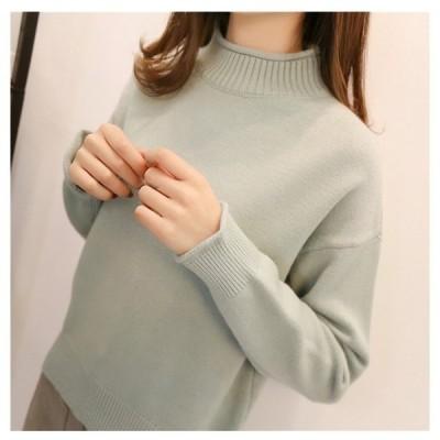 セーターニットトップスレディースファッションタートルネックハイネックプルオーバー滑らかな素材厚手防寒色豊富