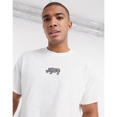 ニューラブクラブ メンズ シャツ トップス New Love Club rhino print t-shirt in white