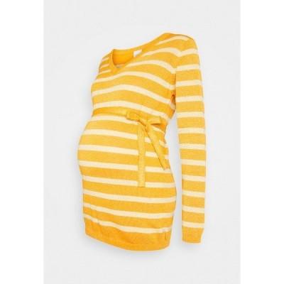 ママリシャス ニット&セーター レディース アウター MLBLACK V-NECK - Jumper - mineral yellow/sunlight